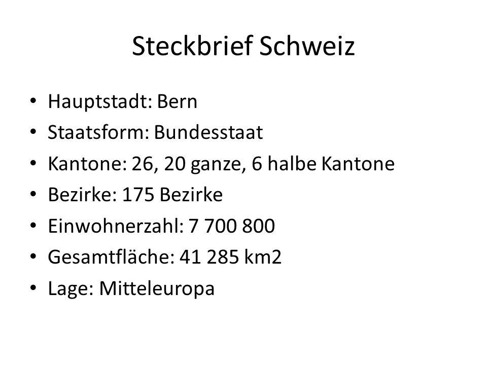 Steckbrief Schweiz Hauptstadt: Bern Staatsform: Bundesstaat Kantone: 26, 20 ganze, 6 halbe Kantone Bezirke: 175 Bezirke Einwohnerzahl: 7 700 800 Gesamtfläche: 41 285 km2 Lage: Mitteleuropa