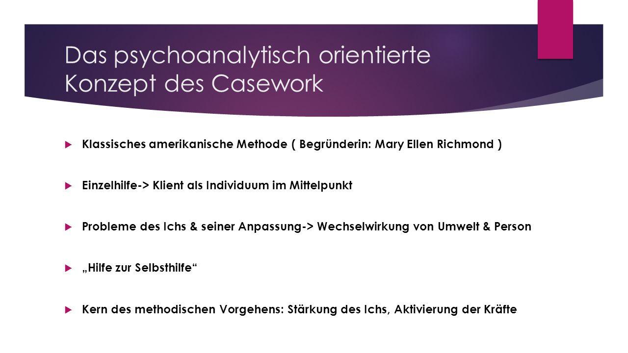 Das psychoanalytisch orientierte Konzept des Casework Klassisches amerikanische Methode ( Begründerin: Mary Ellen Richmond ) Einzelhilfe-> Klient als