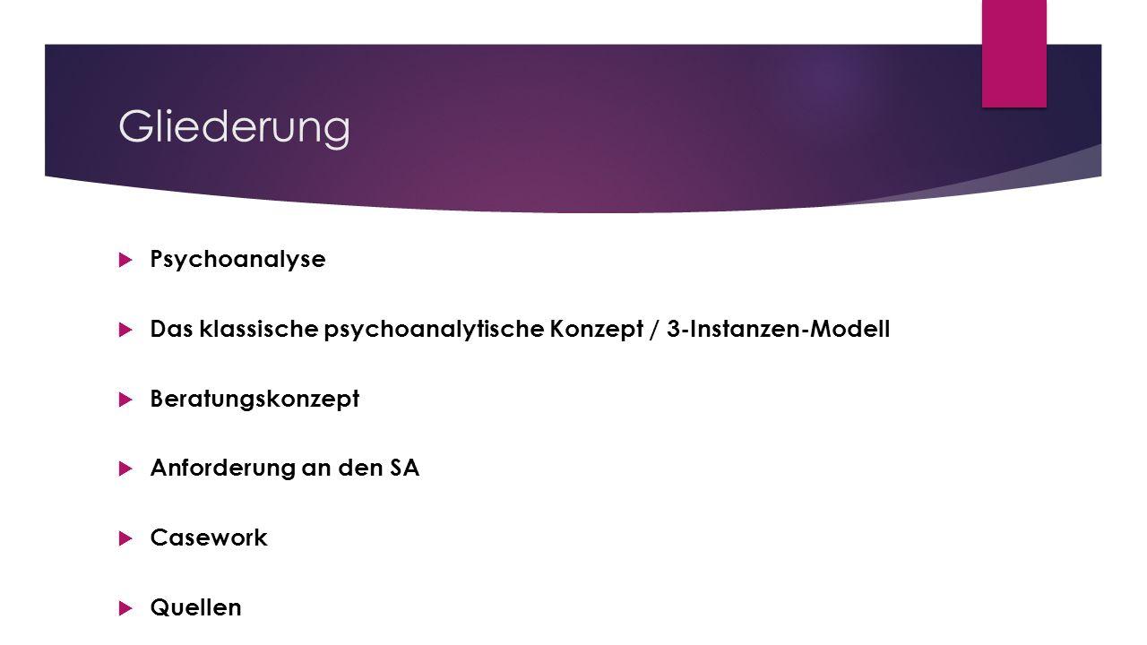 Gliederung Psychoanalyse Das klassische psychoanalytische Konzept / 3-Instanzen-Modell Beratungskonzept Anforderung an den SA Casework Quellen