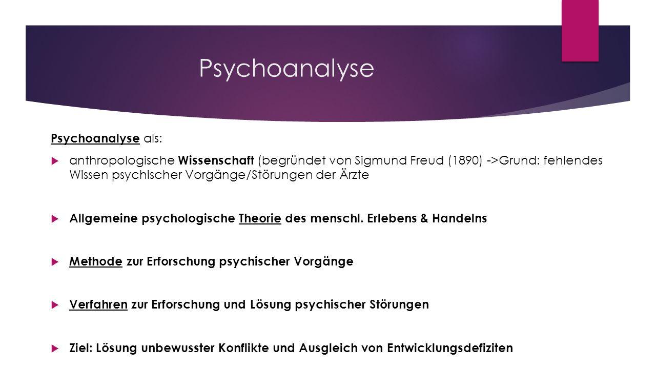 Psychoanalyse Psychoanalyse als: anthropologische Wissenschaft (begründet von Sigmund Freud (1890) ->Grund: fehlendes Wissen psychischer Vorgänge/Stör