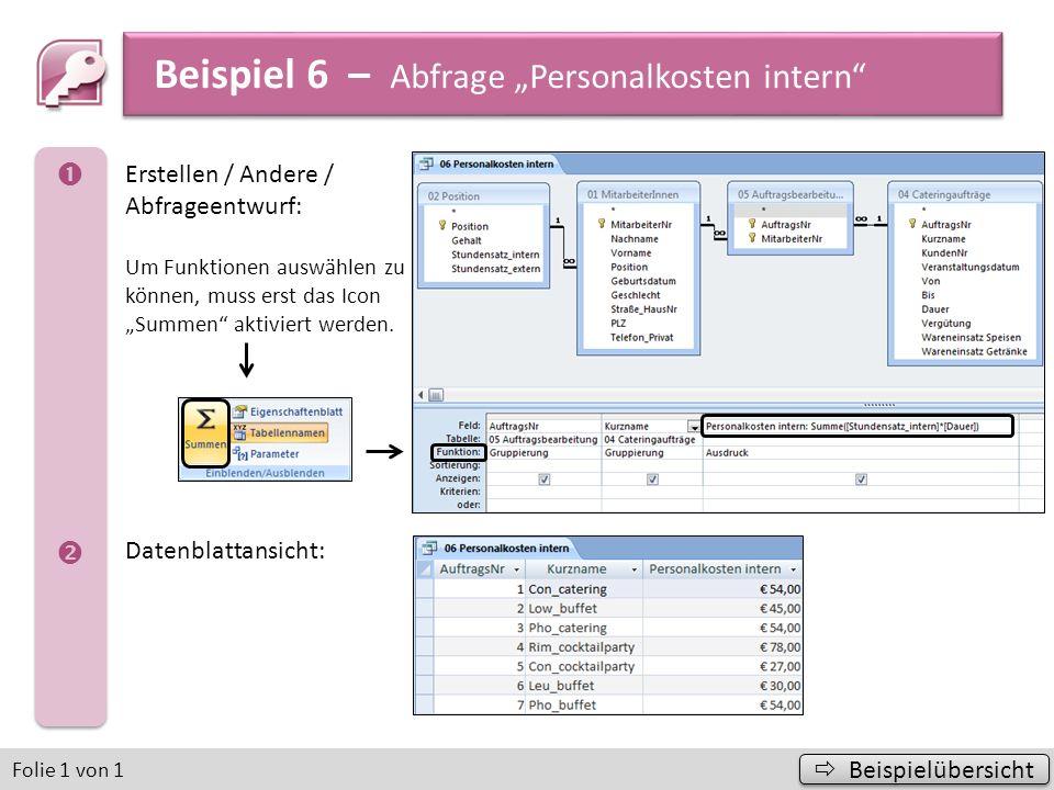 Beispiel 7 – Abfrage Bonuszahlung Beispielübersicht Beispielübersicht Folie 1 von 1 Erstellen / Andere / Abfrageentwurf: Datenblattansicht: Lösung mit Bonus von 10 %
