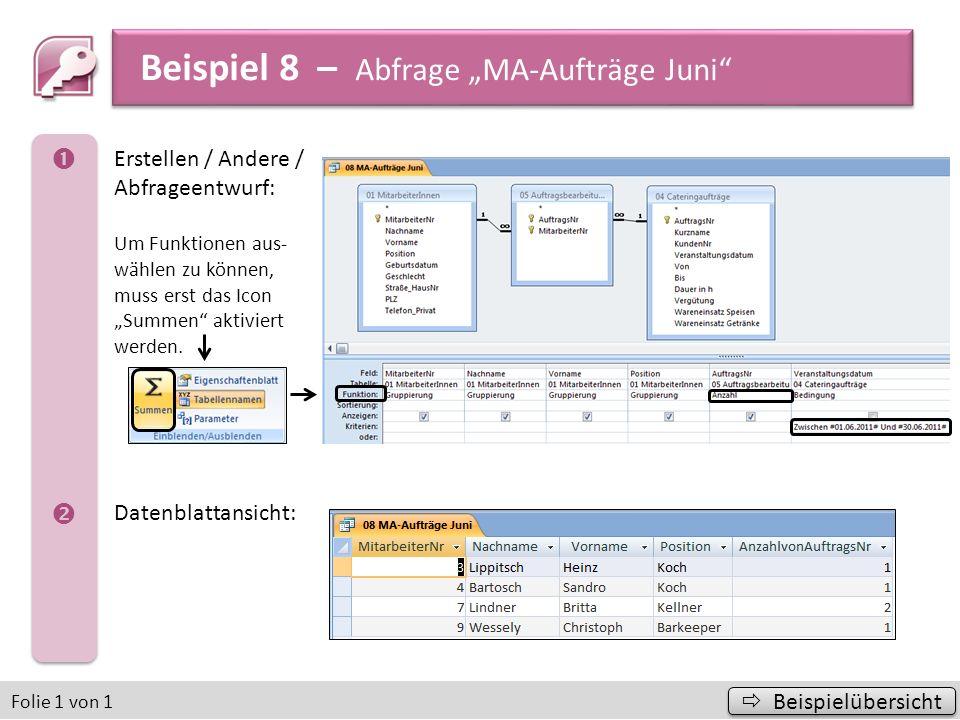 Beispiel 12 – Diagramm Beispielübersicht Beispielübersicht Folie 1 von 3 a) b) Daten / Externe Daten abrufen: Aus Access die Datenbank und die Tabelle bzw.