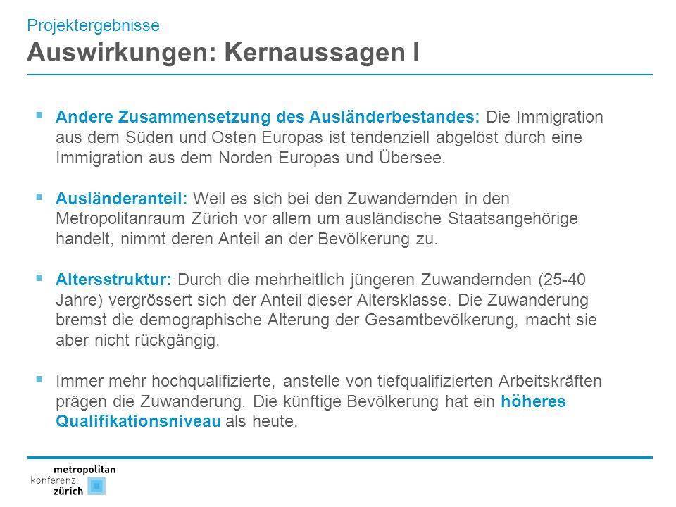 Projektergebnisse Auswirkungen: Kernaussagen I Andere Zusammensetzung des Ausländerbestandes: Die Immigration aus dem Süden und Osten Europas ist tend
