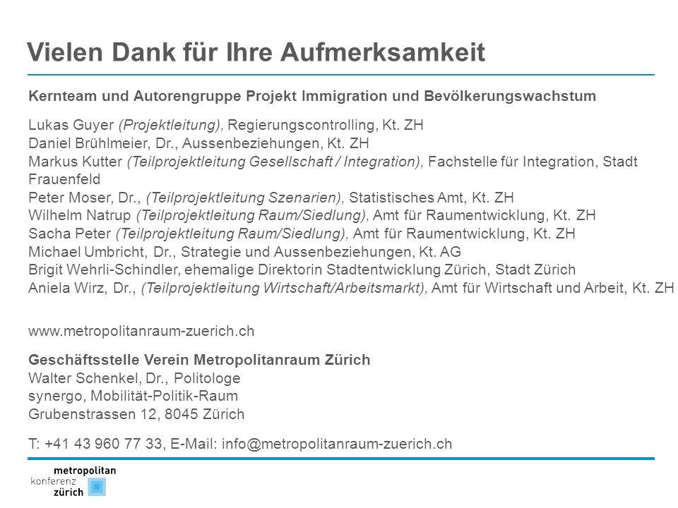 Vielen Dank für Ihre Aufmerksamkeit Kernteam und Autorengruppe Projekt Immigration und Bevölkerungswachstum Lukas Guyer (Projektleitung), Regierungsco