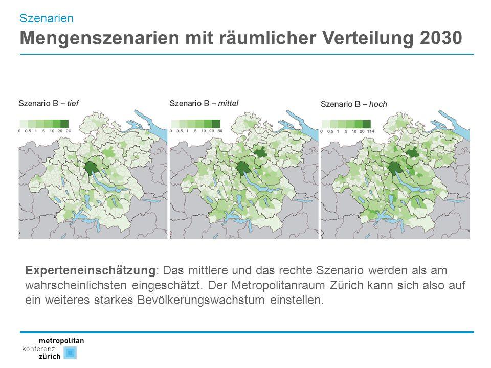 Szenarien Mengenszenarien mit räumlicher Verteilung 2030 Experteneinschätzung: Das mittlere und das rechte Szenario werden als am wahrscheinlichsten e