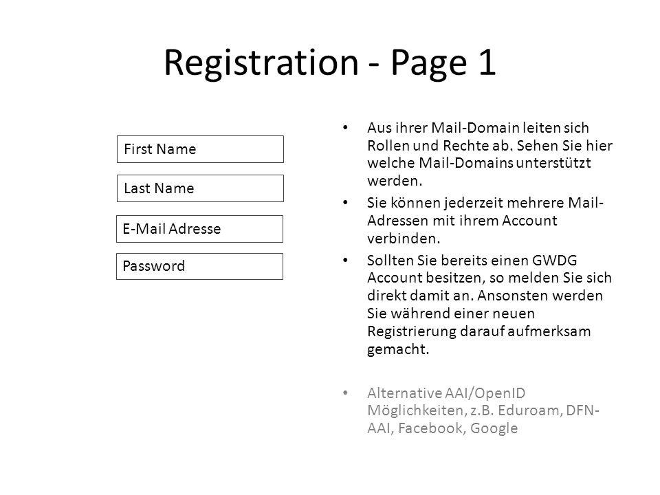 Registration - Page 1 Aus ihrer Mail-Domain leiten sich Rollen und Rechte ab.