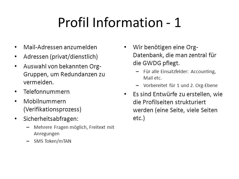 Profil Information - 1 Mail-Adressen anzumelden Adressen (privat/dienstlich) Auswahl von bekannten Org- Gruppen, um Redundanzen zu vermeiden.