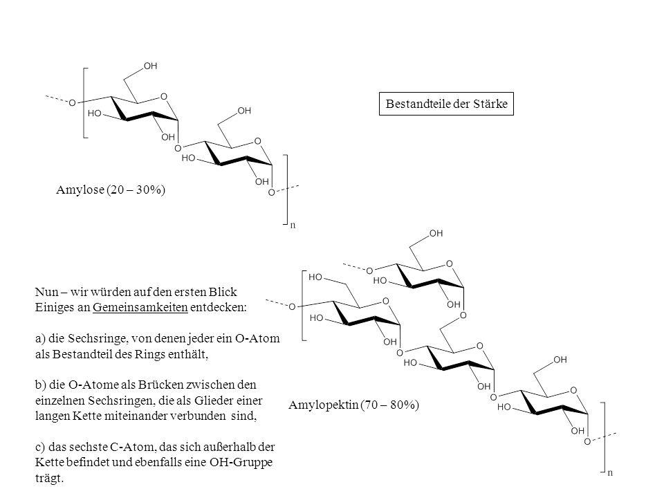 Amylose (20 – 30%) Amylopektin (70 – 80%) Nun – wir würden auf den ersten Blick Einiges an Gemeinsamkeiten entdecken: a) die Sechsringe, von denen jed