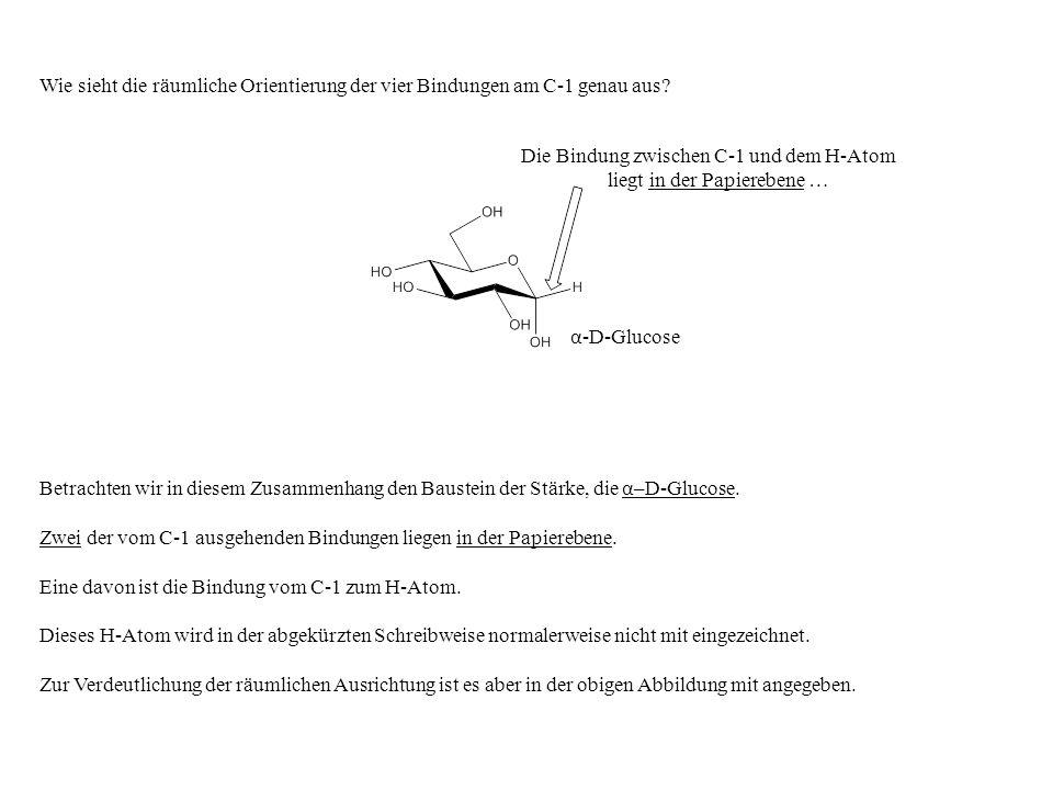 Betrachten wir in diesem Zusammenhang den Baustein der Stärke, die α –D-Glucose. Zwei der vom C-1 ausgehenden Bindungen liegen in der Papierebene. Ein