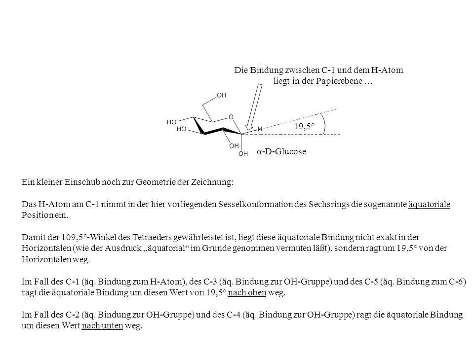 Ein kleiner Einschub noch zur Geometrie der Zeichnung: Das H-Atom am C-1 nimmt in der hier vorliegenden Sesselkonformation des Sechsrings die sogenann