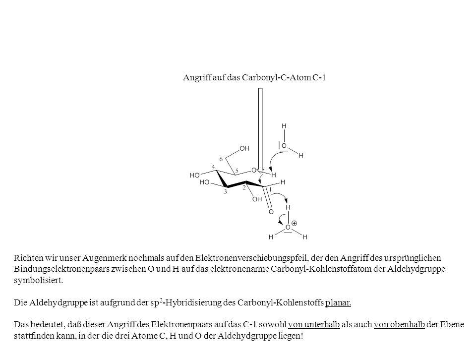 Richten wir unser Augenmerk nochmals auf den Elektronenverschiebungspfeil, der den Angriff des ursprünglichen Bindungselektronenpaars zwischen O und H