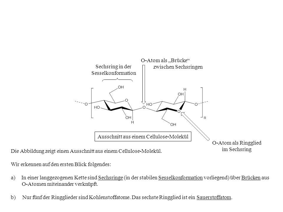 Ausschnitt aus einem Cellulose-Molekül Die Abbildung zeigt einen Ausschnitt aus einem Cellulose-Molekül. Wir erkennen auf den ersten Blick folgendes: