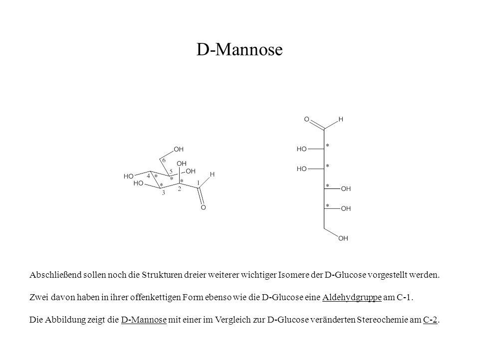 D-Mannose Abschließend sollen noch die Strukturen dreier weiterer wichtiger Isomere der D-Glucose vorgestellt werden. Zwei davon haben in ihrer offenk