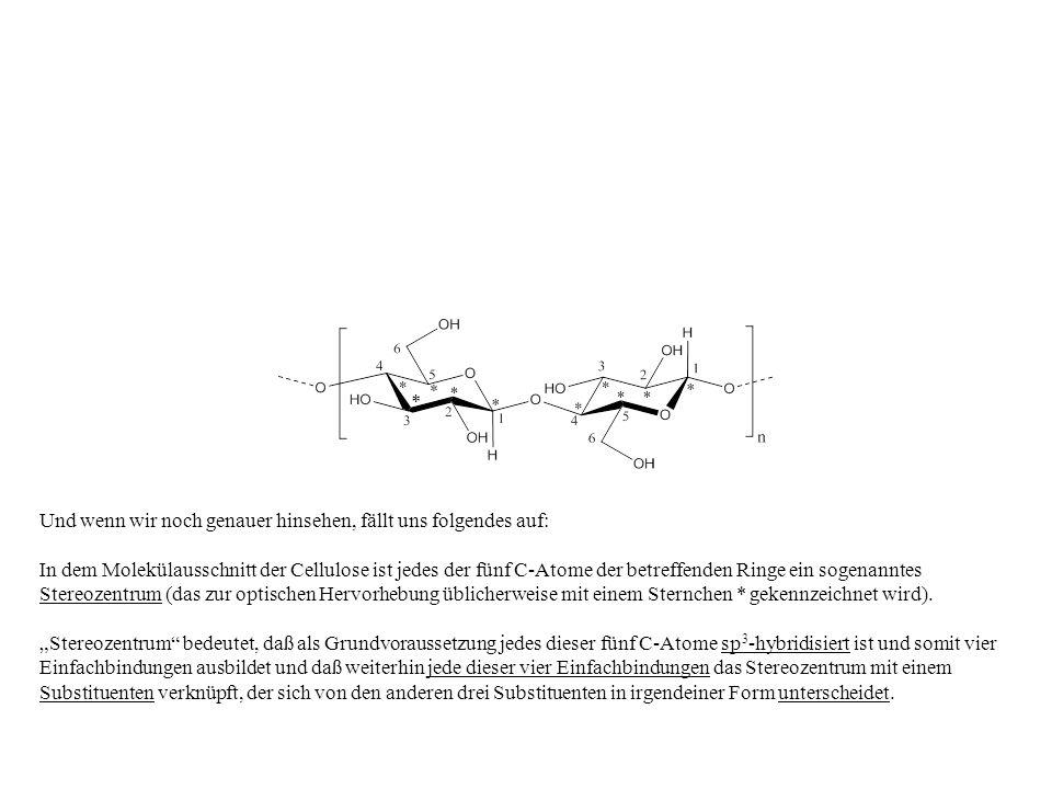 * Und wenn wir noch genauer hinsehen, fällt uns folgendes auf: In dem Molekülausschnitt der Cellulose ist jedes der fünf C-Atome der betreffenden Ring