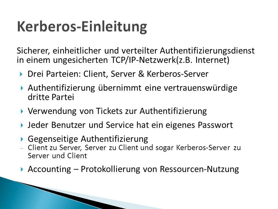 Sicherer, einheitlicher und verteilter Authentifizierungsdienst in einem ungesicherten TCP/IP-Netzwerk(z.B.