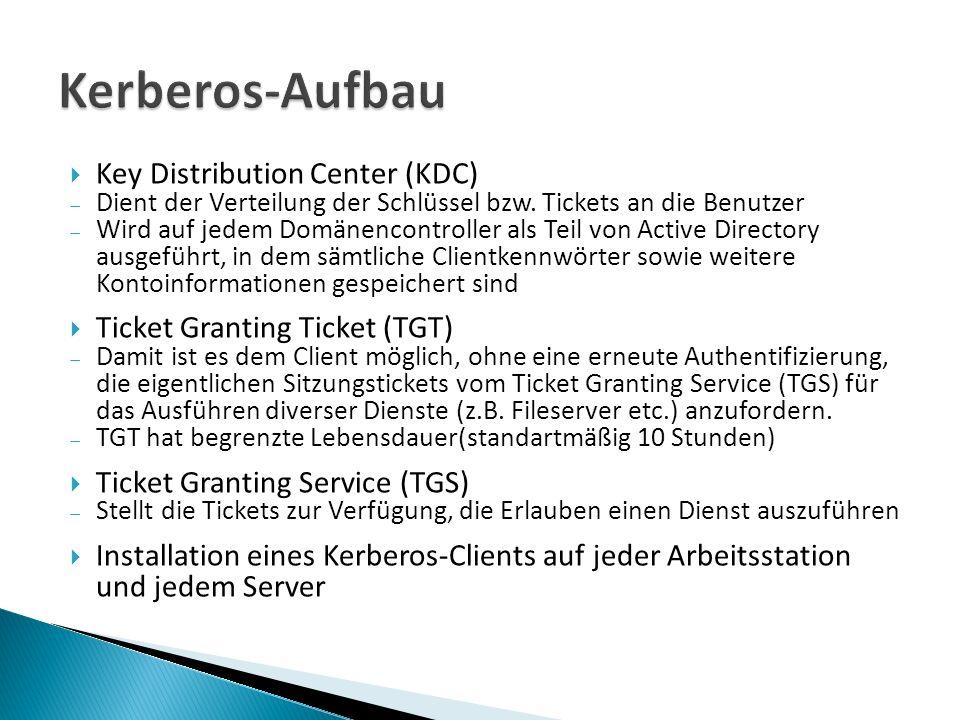 Key Distribution Center (KDC) Dient der Verteilung der Schlüssel bzw.