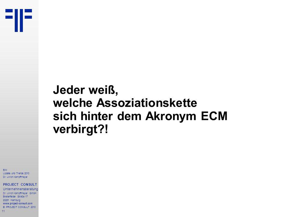 11 EIM Update und Trends 2010 Dr. Ulrich Kampffmeyer PROJECT CONSULT Unternehmensberatung Dr. Ulrich Kampffmeyer GmbH Breitenfelder Straße 17 20251 Ha