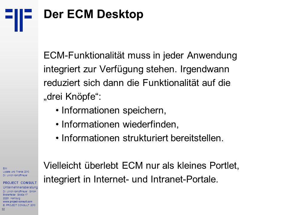 32 EIM Update und Trends 2010 Dr. Ulrich Kampffmeyer PROJECT CONSULT Unternehmensberatung Dr. Ulrich Kampffmeyer GmbH Breitenfelder Straße 17 20251 Ha