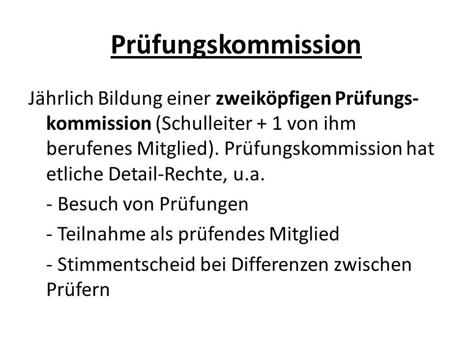 Prüfungskommission Jährlich Bildung einer zweiköpfigen Prüfungs- kommission (Schulleiter + 1 von ihm berufenes Mitglied).
