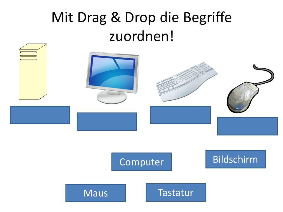 Tastatur Computer Maus Bildschirm Mit Drag & Drop die Begriffe zuordnen!