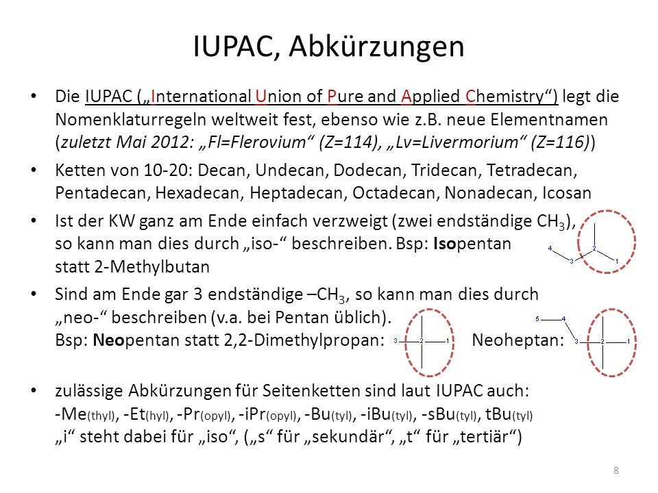 IUPAC, Abkürzungen Die IUPAC (International Union of Pure and Applied Chemistry) legt die Nomenklaturregeln weltweit fest, ebenso wie z.B. neue Elemen