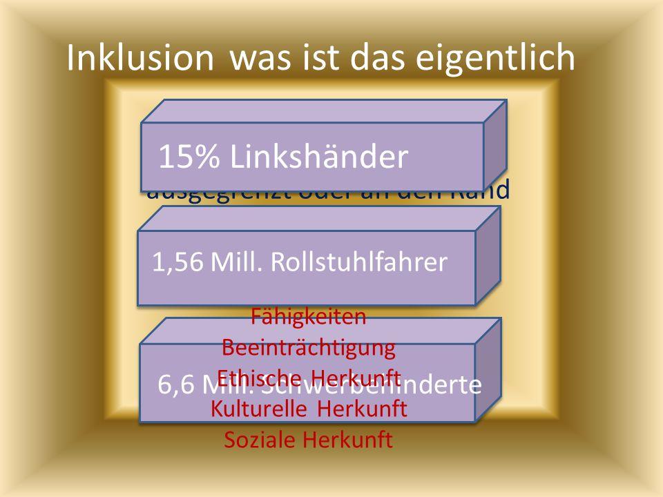 Inklusion Inklusion bedeutet, dass kein Mensch ausgeschlossen, ausgegrenzt oder an den Rand gedrängt werden darf was ist das eigentlich 15% Linkshände