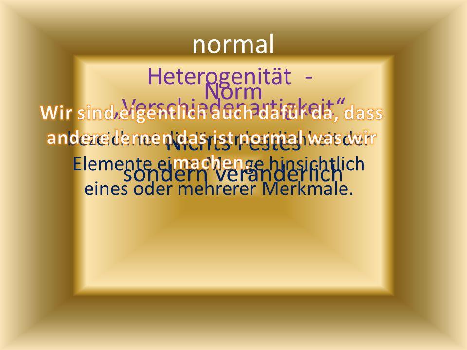 normal Norm Nichts Festes sondern veränderlich Heterogenität - Verschiedenartigkeit bezeichnet die Uneinheitlichkeit der Elemente einer Menge hinsicht