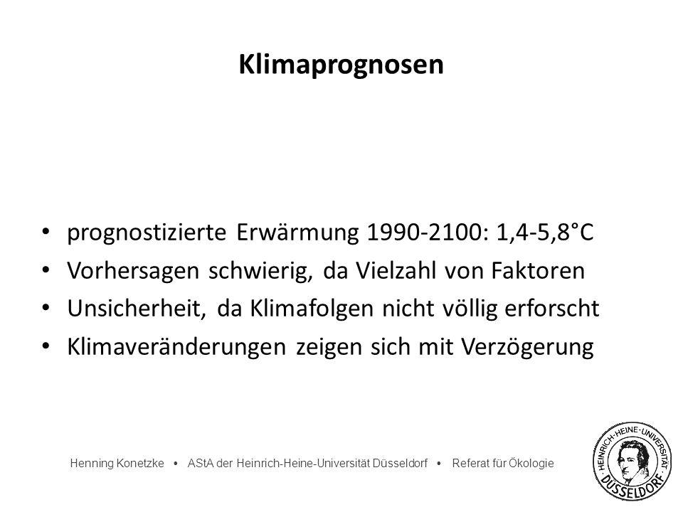 Henning Konetzke AStA der Heinrich-Heine-Universität Düsseldorf Referat für Ökologie Klimaprognosen prognostizierte Erwärmung 1990-2100: 1,4-5,8°C Vor