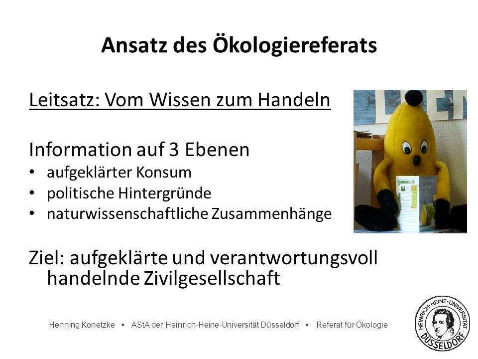 Henning Konetzke AStA der Heinrich-Heine-Universität Düsseldorf Referat für Ökologie Ansatz des Ökologiereferats Leitsatz: Vom Wissen zum Handeln Info