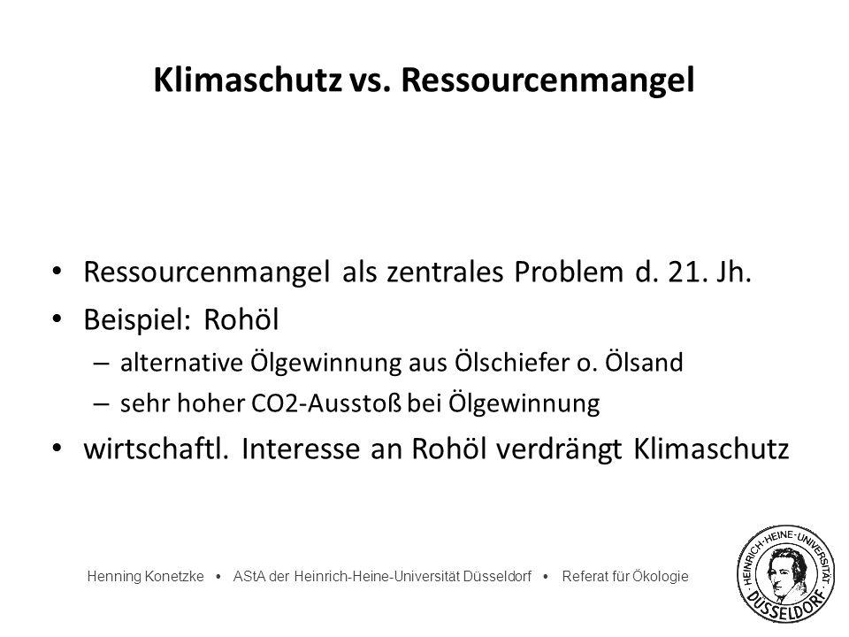 Henning Konetzke AStA der Heinrich-Heine-Universität Düsseldorf Referat für Ökologie Klimaschutz vs. Ressourcenmangel Ressourcenmangel als zentrales P