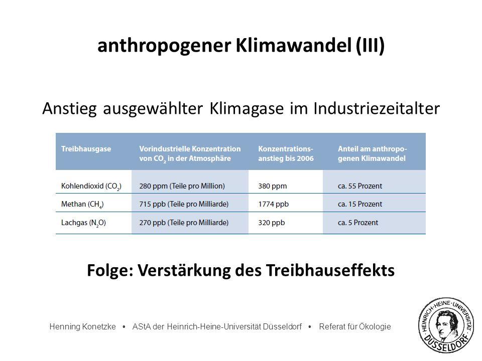 Henning Konetzke AStA der Heinrich-Heine-Universität Düsseldorf Referat für Ökologie anthropogener Klimawandel (III) Anstieg ausgewählter Klimagase im