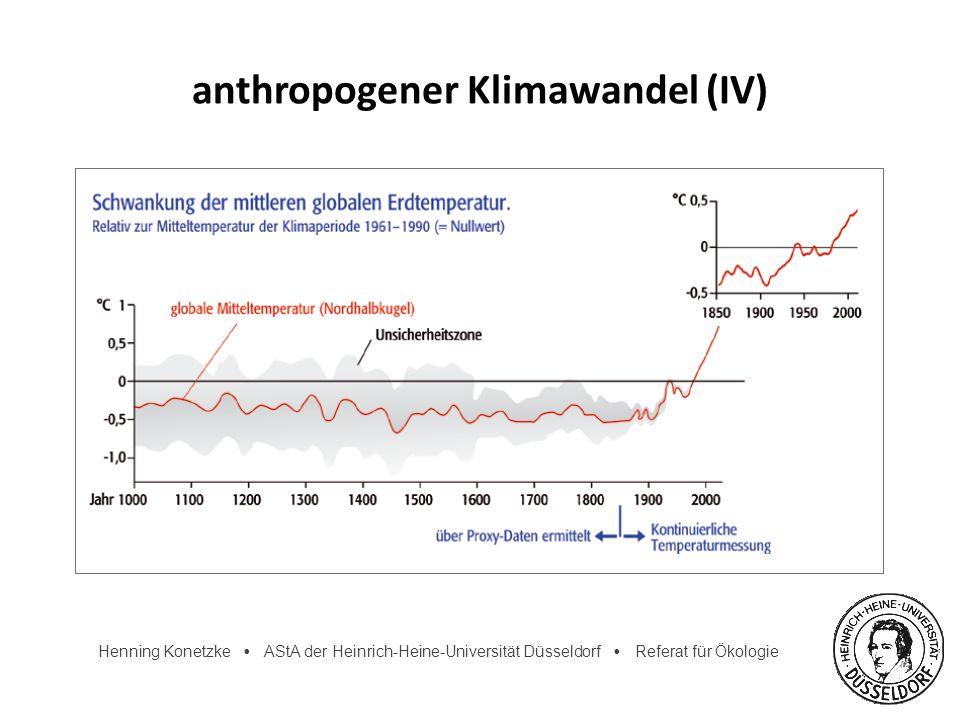 Henning Konetzke AStA der Heinrich-Heine-Universität Düsseldorf Referat für Ökologie Klimaprognosen prognostizierte Erwärmung 1990-2100: 1,4-5,8°C Vorhersagen schwierig, da Vielzahl von Faktoren Unsicherheit, da Klimafolgen nicht völlig erforscht Klimaveränderungen zeigen sich mit Verzögerung