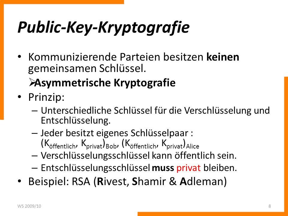 Public-Key-Kryptografie Funktionsweise: – Alice kennt öffentlichen Schlüssel von Bob K öffentlich und verschlüsselt damit den Klartext P.
