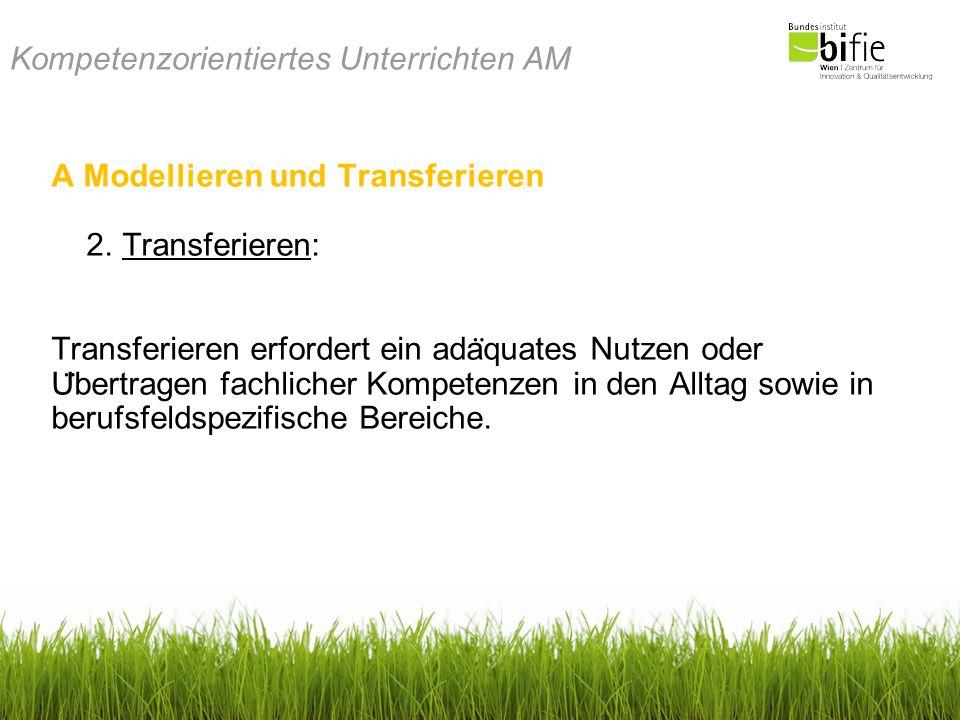 Kompetenzorientiertes Unterrichten AM A Modellieren und Transferieren 2. Transferieren: Transferieren erfordert ein ada ̈ quates Nutzen oder U ̈ bertr