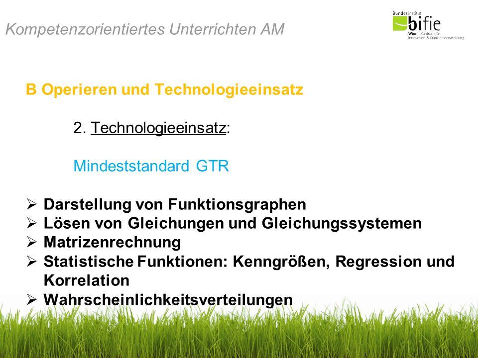 Kompetenzorientiertes Unterrichten AM B Operieren und Technologieeinsatz 2. Technologieeinsatz: Mindeststandard GTR Darstellung von Funktionsgraphen L
