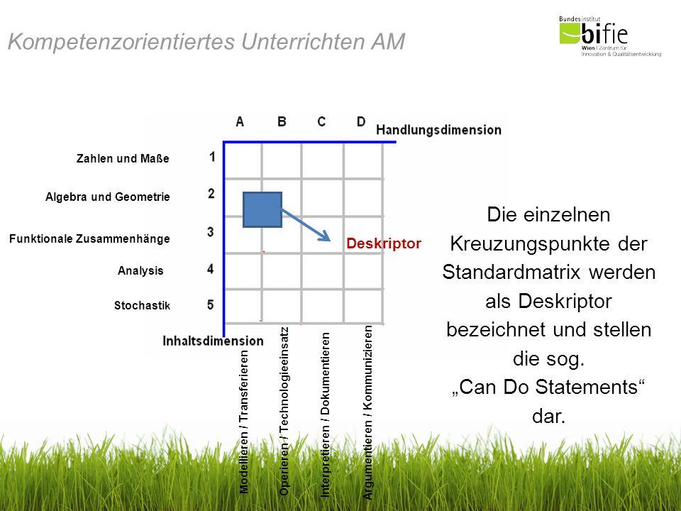 Kompetenzorientiertes Unterrichten AM Beispiele: Unter folgendem Link findet man Aufgaben zum Teil A (Clusterübergreifend) und zum Teil B (Clusterspezifisch): http://www.bildungsstandards.berufsbildendeschulen.at/fileadmin/content/bbs/AG Broschueren/AngewMathe-jan09.pdf