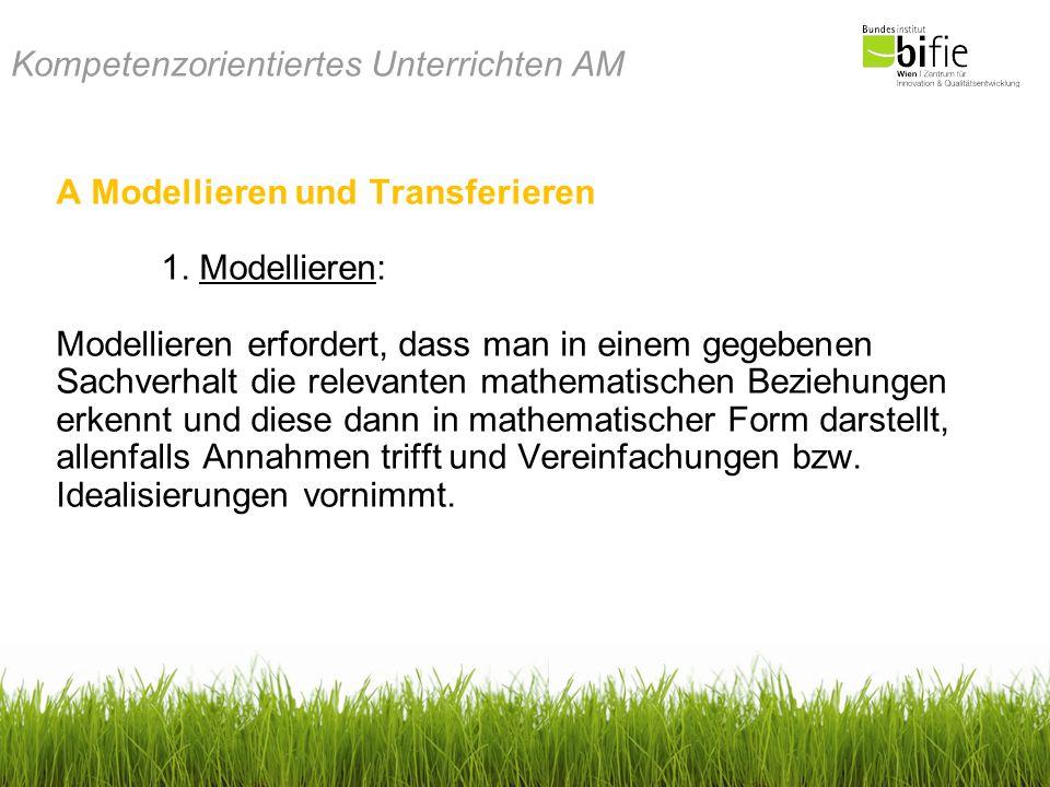 Kompetenzorientiertes Unterrichten AM A Modellieren und Transferieren 1. Modellieren: Modellieren erfordert, dass man in einem gegebenen Sachverhalt d
