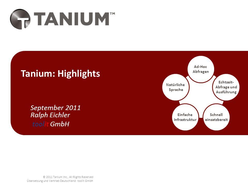 © 2011 Tanium Inc., All Rights Reserved Übersetzung und Vertrieb Deutschland: toolit GmbH Lücken im derzeitigen Systems Management Vergleich Systems Management: Tanium vs.