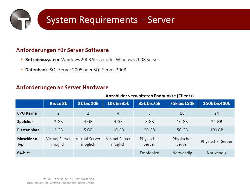 © 2011 Tanium Inc., All Rights Reserved Übersetzung und Vertrieb Deutschland: toolit GmbH System-Anforderungen– Client und Konsole Anforderungen an Client-Software Unterstützte Betriebssysteme Windows: Windows 2000, 2003, 2008, XP, Vista, 7 Mac OS: OS X 10.4 und höher Linux and UNIX: Linux and UNIX Clients auf Anforderung verfügbar Anforderungen an Client-Ressourcen CPU: 0.1% Auslastung Speicher(RAM): 10 MB Plattenplatz: 10 MB Festplattenplatz Netzwerk: Weniger als 10K/s LAN-Verkehr durch Peer-to-peer Kommunikation für die Beantwortung von Fragen und Zustandsberichte Lokale Rechte: Lokale System- oder äquivalente Rechte, keine Domänen-Authentifizierung oder andere angepasste Rechte erforderlich Keine Libraries oder Applikationen auf den verwalteten Knoten Anforderung an die Konsole Die Tanium Konsole ist auf jedem modernen Browser mit Flash 10.1 oder höher lauffähig