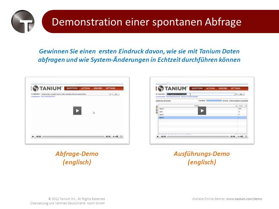 © 2011 Tanium Inc., All Rights Reserved Übersetzung und Vertrieb Deutschland: toolit GmbH So arbeitet Tanium Bis zu hunderttausende Endpunkten /Clients mit einem einzigen Tanium Server zu bedienen Datenabfragen und Systemänderungen in Sekunden durchzuführen, unabhängig vom Umfang des Systems.