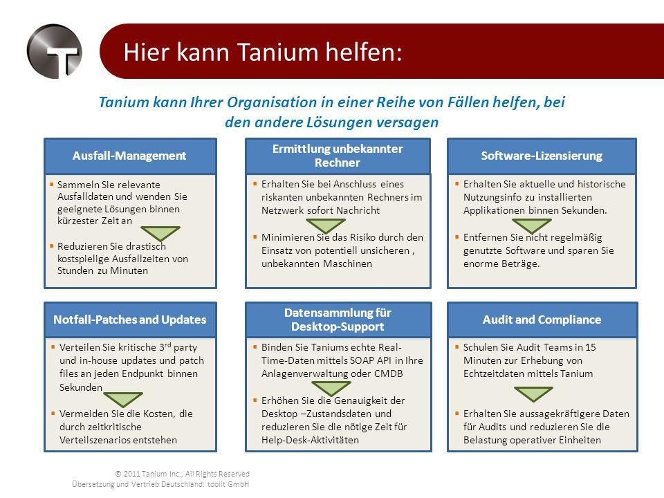 © 2011 Tanium Inc., All Rights Reserved Übersetzung und Vertrieb Deutschland: toolit GmbH Tanium ROI ROI für einen großen Kunden mit 150.000 Rechnern Die Kostenvorteile sind individuell für jedes Unternehmen und nicht auf die oben dargestellten ROI-Faktoren beschränkt 2.0x 4.3x 3.7x 1.1x 5.4x 0.4x 0.7x 17.6x