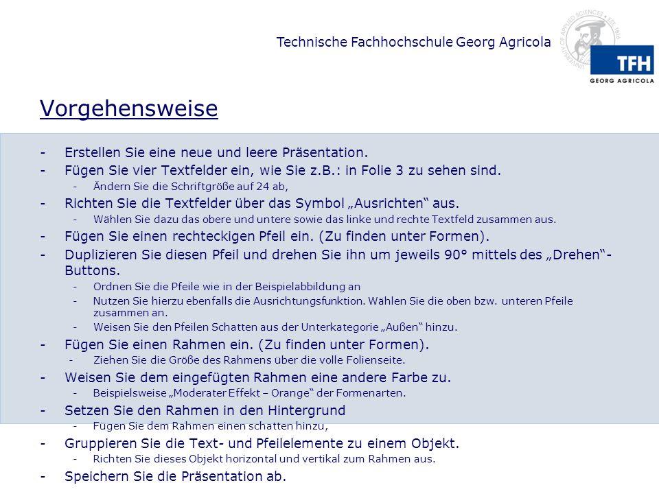 Technische Fachhochschule Georg Agricola Vorgehensweise -Erstellen Sie eine neue und leere Präsentation. -Fügen Sie vier Textfelder ein, wie Sie z.B.: