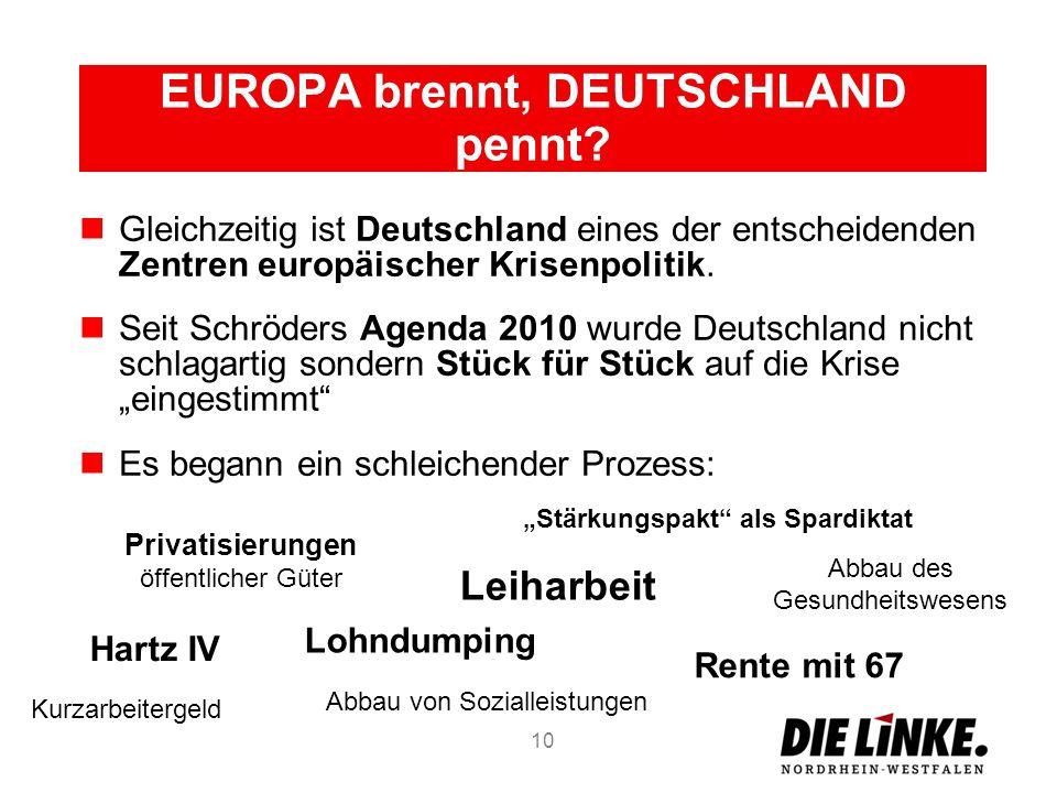 EUROPA brennt, DEUTSCHLAND pennt? Gleichzeitig ist Deutschland eines der entscheidenden Zentren europäischer Krisenpolitik. Seit Schröders Agenda 2010