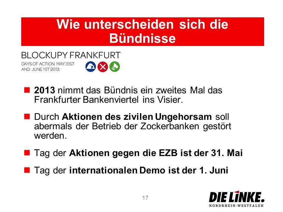 Wie unterscheiden sich die Bündnisse 2013 nimmt das Bündnis ein zweites Mal das Frankfurter Bankenviertel ins Visier. Durch Aktionen des zivilen Ungeh