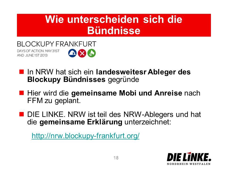 Wie unterscheiden sich die Bündnisse In NRW hat sich ein landesweitesr Ableger des Blockupy Bündnisses gegründe Hier wird die gemeinsame Mobi und Anre
