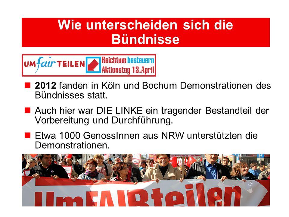 Wie unterscheiden sich die Bündnisse 2012 fanden in Köln und Bochum Demonstrationen des Bündnisses statt. Auch hier war DIE LINKE ein tragender Bestan