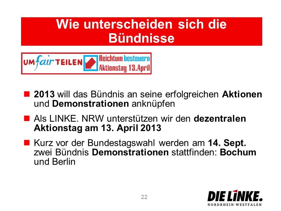 Wie unterscheiden sich die Bündnisse 2013 will das Bündnis an seine erfolgreichen Aktionen und Demonstrationen anknüpfen Als LINKE. NRW unterstützen w