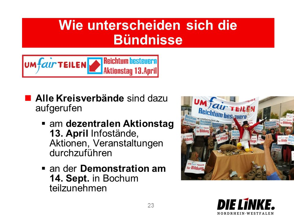 Wie unterscheiden sich die Bündnisse Alle Kreisverbände sind dazu aufgerufen am dezentralen Aktionstag 13. April Infostände, Aktionen, Veranstaltungen