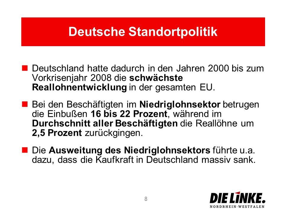 Deutsche Standortpolitik Deutschland hatte dadurch in den Jahren 2000 bis zum Vorkrisenjahr 2008 die schwächste Reallohnentwicklung in der gesamten EU