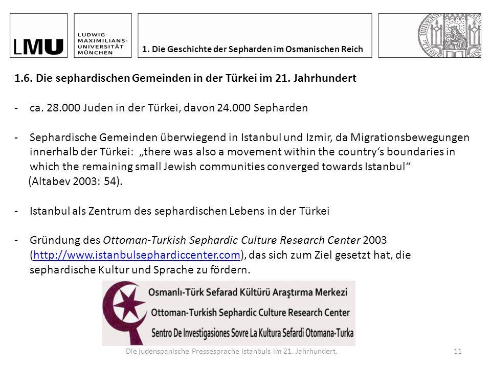 Die judenspanische Pressesprache Istanbuls im 21.Jahrhundert.10 1.